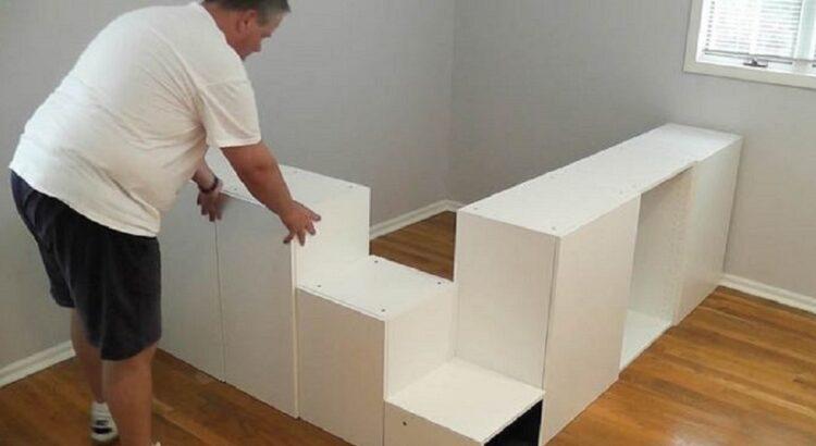 Vyras nusipirko 7 virtuvės spinteles iš Ikea ir panaudojo jas genialiam projektui miegamajame, o rezultatas apstulbino visus