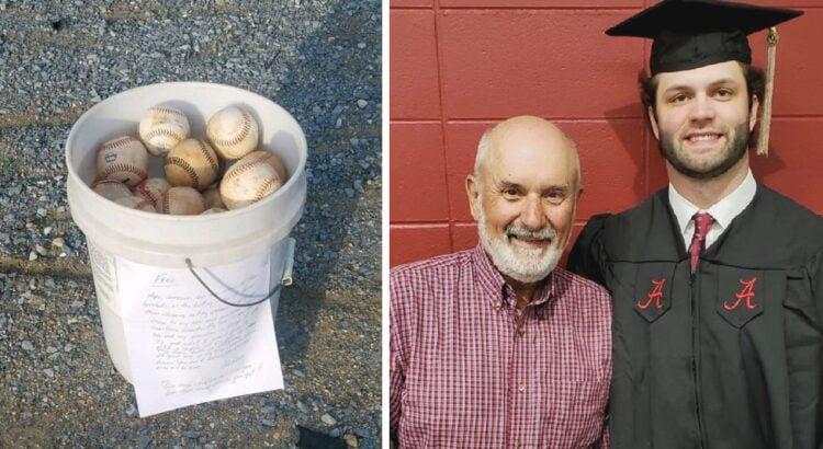 Senukas žaidimų aikštelėje paliko kibirą su beisbolo kamuoliukais ir laiškeliu. Vėliau vyro žinute buvo pasidalinta visame pasaulyje