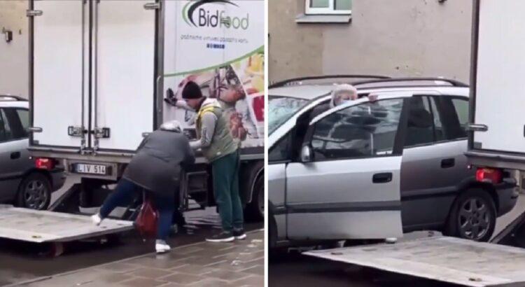 Lietuvoje taip pat yra gerų žmonių - sunkvežimio vairuotojas padėjo moteriai patekti į jos automobilį per apsemtą kiemą. Įvykio video skrieja aplink pasaulį