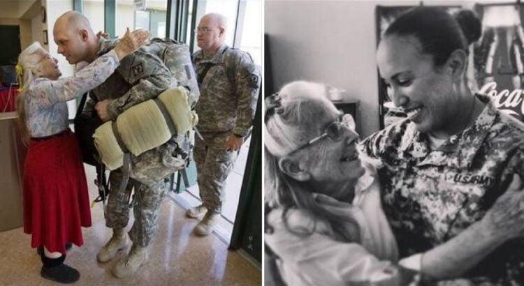 Oro uoste net 12 metų kareivius visada pasitikdavo ir išlydėdavo su apsikabinimu ta pati senutė. Kai vieną dieną vyrai pasigedo jos, buvo atskleista jos paslaptis