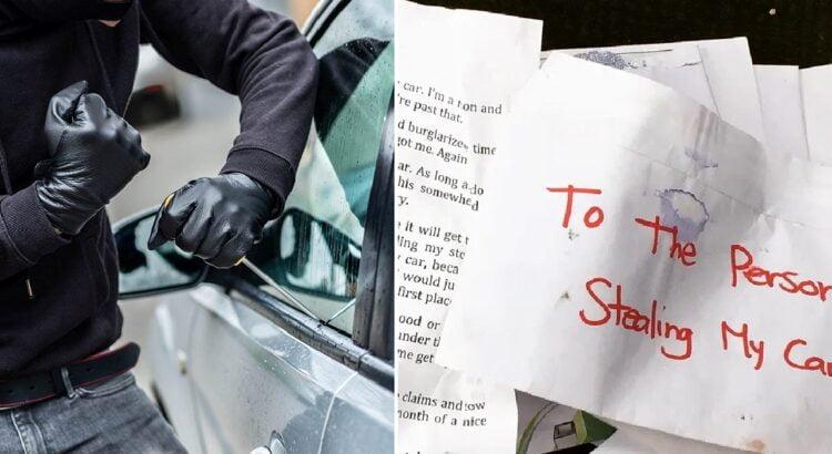 Ilgapirštis pavogė seną automobilį, tačiau viduje jis rado savininkės laišką, kuris buvo adresuotas būtent vagims. Jo turinys privertė nusikaltėlį persigalvoti